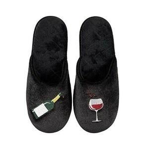 INC Wine Glass Velour Scuff Slippers Black Small